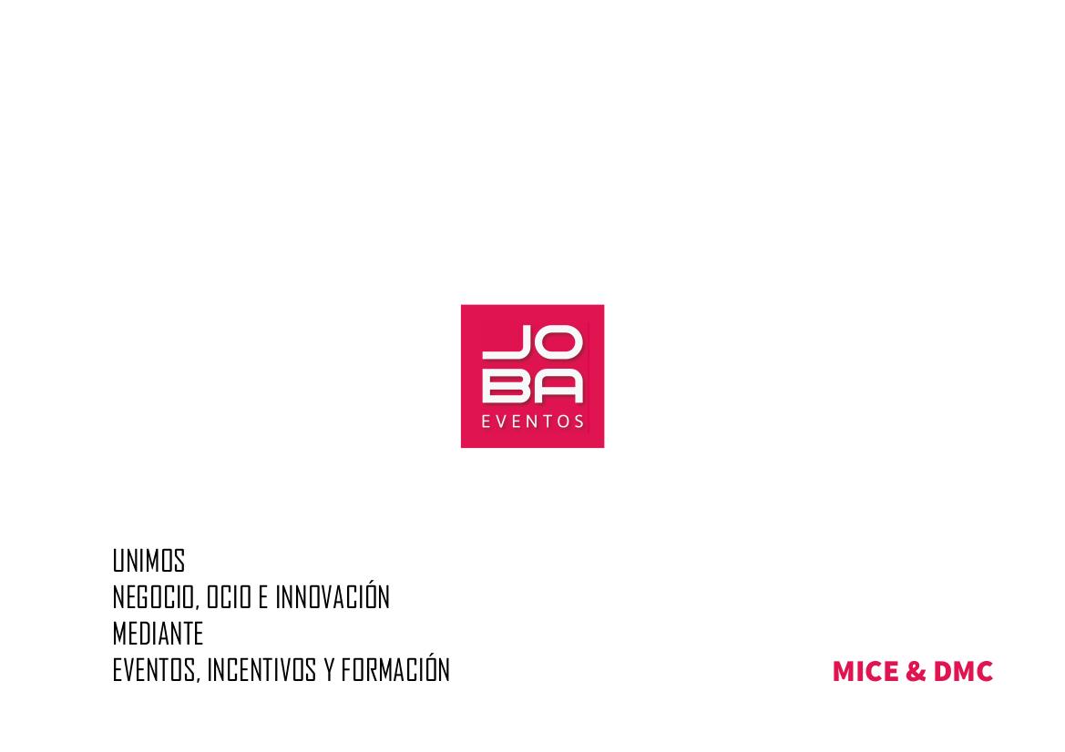 Catálogo JOBA Eventos sector MICE & DMC