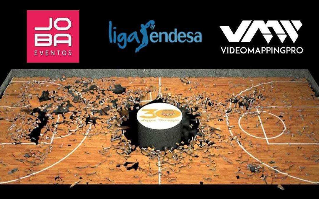 Espectacular videomapping en la Fonteta en la previa del tercer partido de las semifinales de la liga ENDESA entre el Valencia Basket y el Baskonia